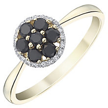 9ct Yellow Gold Dark Blue Sapphire & Diamond Ring - Product number 8235589