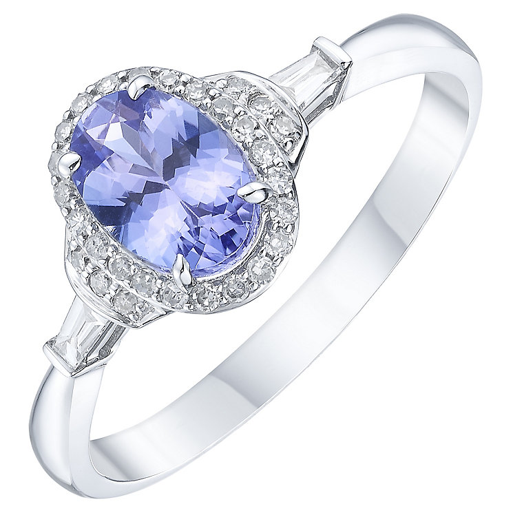 18ct White Gold Tanzanite & 1/10ct Diamond Solitaire Ring - Product number 8237697