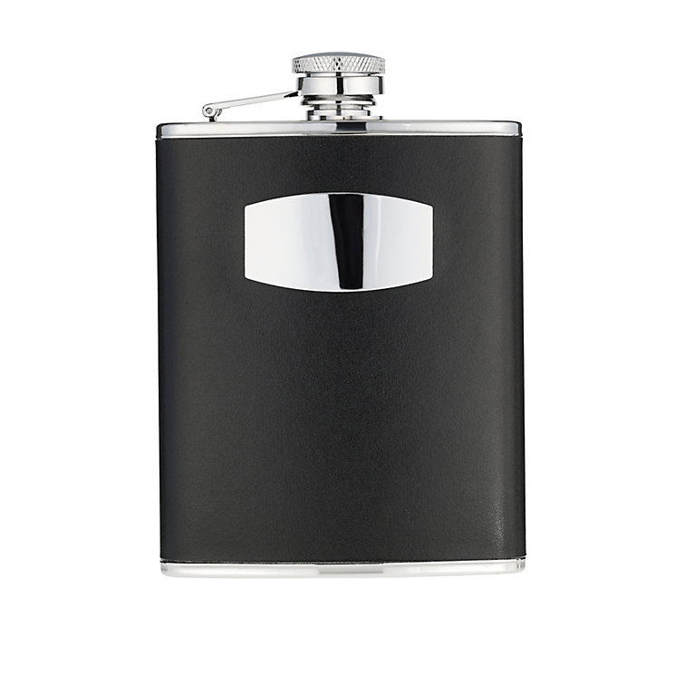 6oz Black Leather Hipflask - Product number 8238480