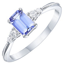 18ct White Gold Tanzanite & Diamond Solitaire Ring - Product number 8239150