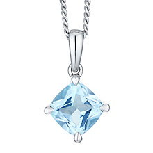 Sterling Silver Swiss Blue Topaz & Diamond Pendant - Product number 8239436