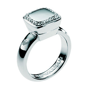 Emporio Armani ladies' sterling silver stone set logo ring - Product number 8239614