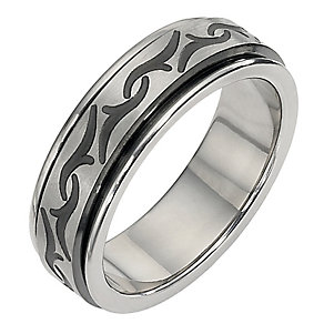 Titanium and Black Ion Plated Tribal Pattern Ring - Product number 8239681