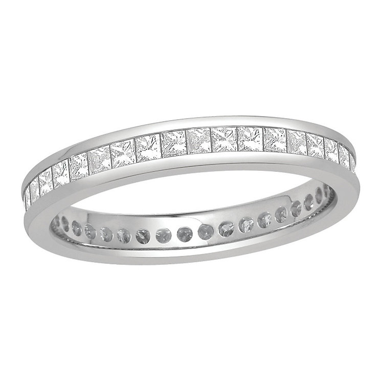 Platinum one carat princess cut diamond full eternity ring - Product number 8243034
