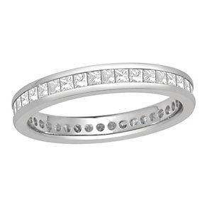 Platinum one carat princess cut diamond full eternity ring - Product number 8243034