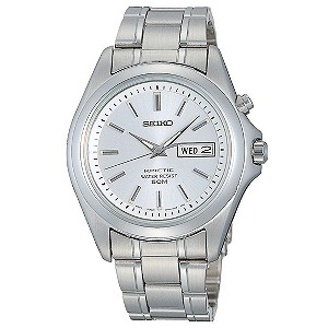 Seiko men's stainless steel kinetic bracelet watch - Product number 8246440