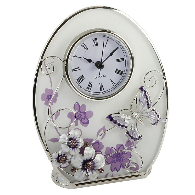 Juliana Purple Butterfly & Flower Clock - Product number 8349134