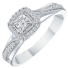 9ct White Gold 0.20ct Cushion Halo Twist Diamond Ring - Product number 8350256