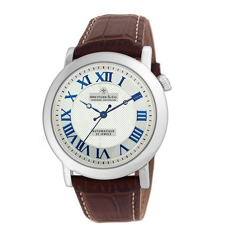 Dreyfuss & co men's brown leather strap watch - DGS00030/21