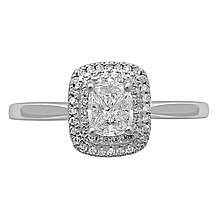 Love Cut 18ct White Gold 0.35ct Cushion Double Halo Ring - Product number 8352151