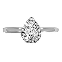 Love Cut 18ct White Gold 0.33ct Pear Diamond Halo Ring - Product number 8352542