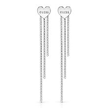 Guess Rhodium Plated Long Pendant Heart Earrings - Product number 8359334