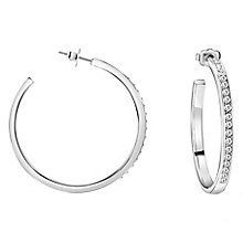 Guess Rhodium Plated Clear Crystal Hoop Earrings - Product number 8359377