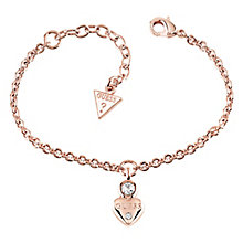 Guess Rose Gold Plated Crystal Heart Charm Bracelet - Product number 8359512