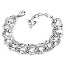 Guess Rhodium Plated Flat Link Chain Bracelet - Product number 8359563