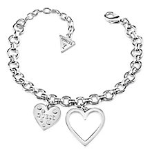 Guess Rhodium Plated Double Heart Chain Bracelet - Product number 8359601