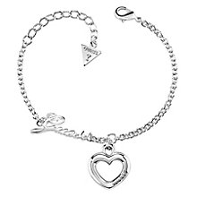 Guess Rhodium Plated Little Bold Heart Charm Bracelet - Product number 8359857