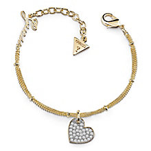 Guess Gold Plated Pave Heart Charm Bracelet - Product number 8360057