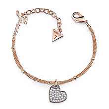 Guess Rose Gold Plated Pave Heart Charm Bracelet - Product number 8360065