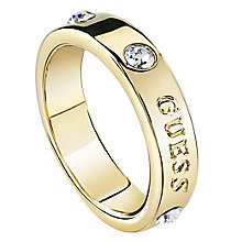 Guess Gold Plated Large Crystal Bar Ring - Product number 8360863