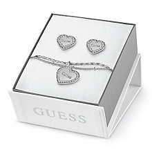 Guess Rhodium Plated Pave Heart Bracelet & Stud Earrings Set - Product number 8361126
