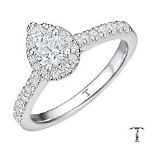 Tolkowsky 18ct White Gold 0.75ct Pear Halo Diamond Ring - Product number 8361304
