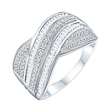 9ct White Gold 1/2ct Diamond Round Crossover Band - Product number 8362017