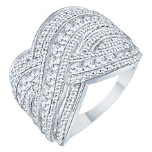 18ct White Gold 1.50ct Diamond Round Wave Band - Product number 8362491