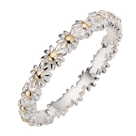 Daisy Iota sterling silver gold-plated stacker ring Size L