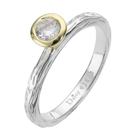 Daisy Pogo sterling silver gold-plated cz ring Size P