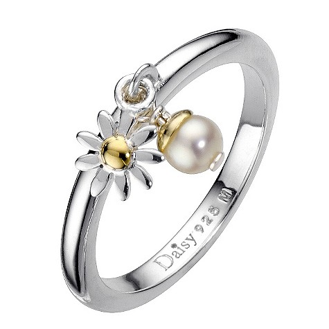 Daisy Beta gold-plated cultured freshwater pearl ring Size P