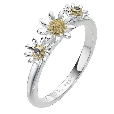 Daisy Lambda sterling silver gold-plated cz ring Size P