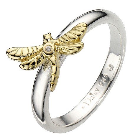 Daisy Dragonfly sterling silver ring gold-plated Size P