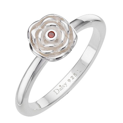 Daisy Mega Rose sterling silver cz stacker ring Size N