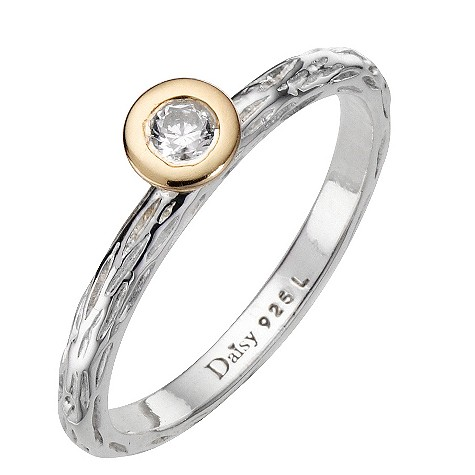 Daisy Disco sterling silver cz stacker ring Size P