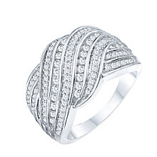 9ct White Gold 1/2ct Diamond Channel Round Crossover Band - Product number 8364990