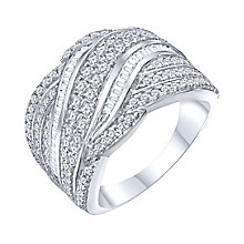 18ct White Gold 1ct Diamond Wave Band - Product number 8365121