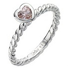 Daisy Tulip sterling silver & pink cz stacker ring Size L - Product number 8366500