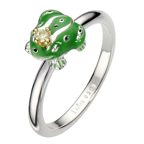Daisy Enamel Green Frog Prince sterling silver ring Size L