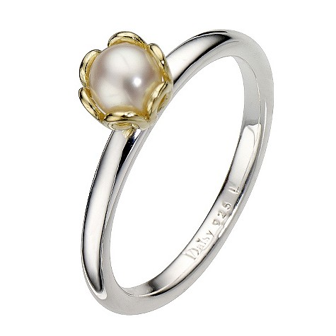 Daisy Prunus gold-plated pearl ring Size L