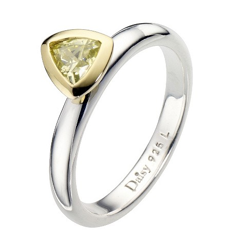 Daisy Zorba sterling silver cz gold-plated ring Size P