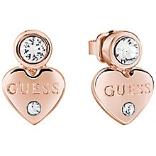 Guess Rose Gold Plated Little Heart Stud Earrings - Product number 8367566