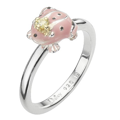 Daisy Enamel Pink Frog Princess sterling silver ring Size L