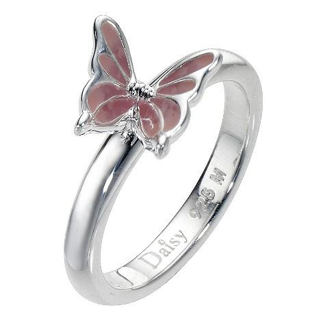 Daisy Enamel Pink Butterfly sterling silver ring Size N
