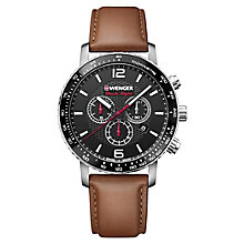 Wenger Roadster Black Night Men's Brown Leather Strap Watch - Product number 8368546