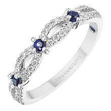 Vera Wang 18ct White Gold 0.18ct Diamond and Sapphire Band - Product number 8369828