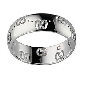 Gucci Icon 18ct white gold wide GG ring - size M - Product number 8372500