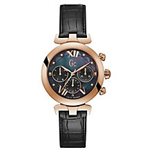 GC Ladybelle Ladies' Rose Gold Plated Black Strap Watch - Product number 8376395