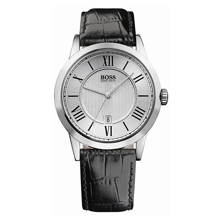 Hugo Boss men's round silver dial black strap watch - Product number 8376611