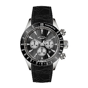 Rotary mens black leather strap chronograph watch